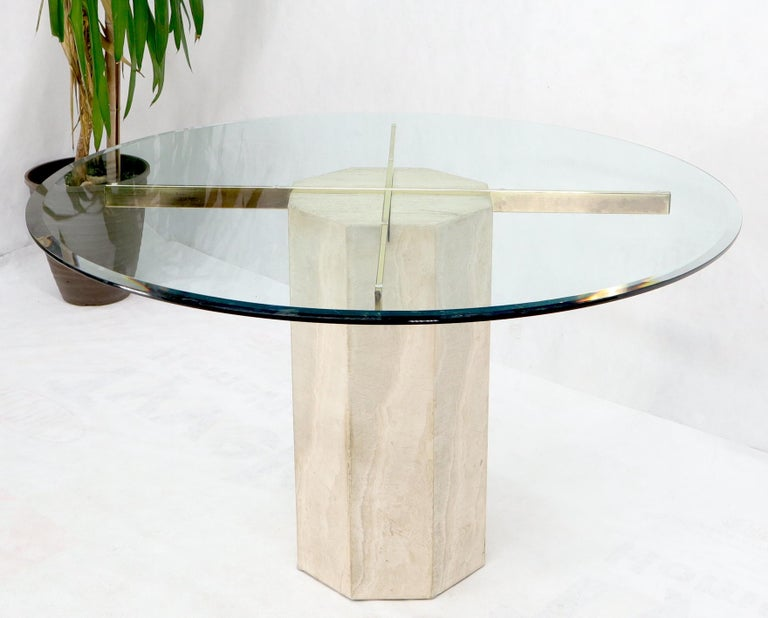 Travertine marble pedestal base glass top Italian dining dinette game table.