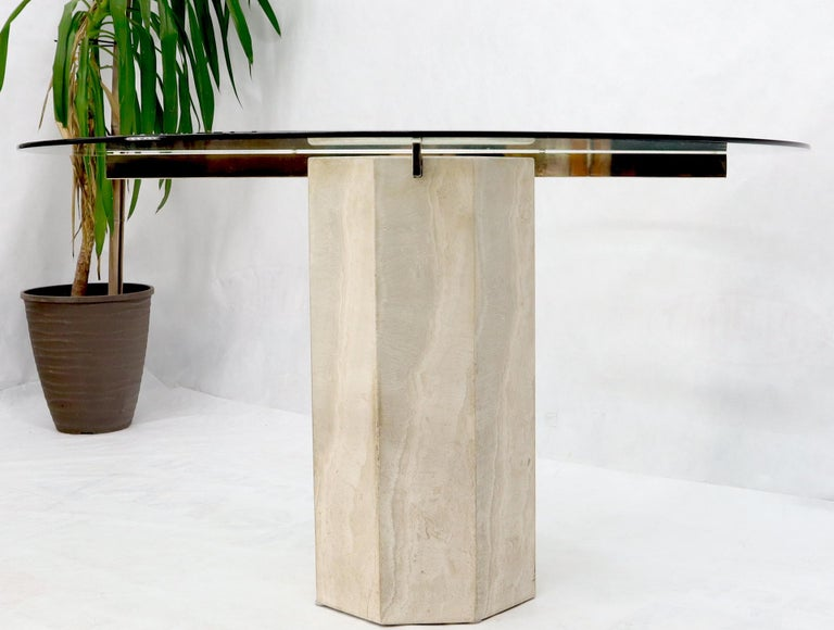 Mid-Century Modern Single Travertine & Brass Pedestal Base Round Glass Top Dining Dinette Table For Sale