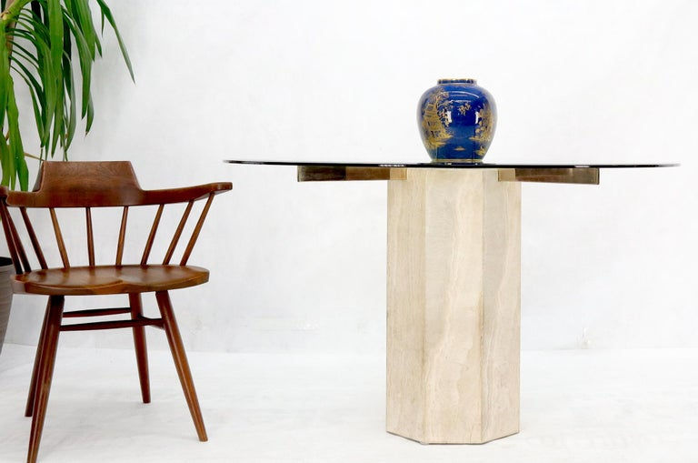 20th Century Single Travertine & Brass Pedestal Base Round Glass Top Dining Dinette Table For Sale