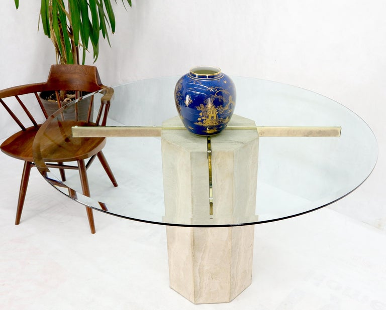 Single Travertine & Brass Pedestal Base Round Glass Top Dining Dinette Table For Sale 1