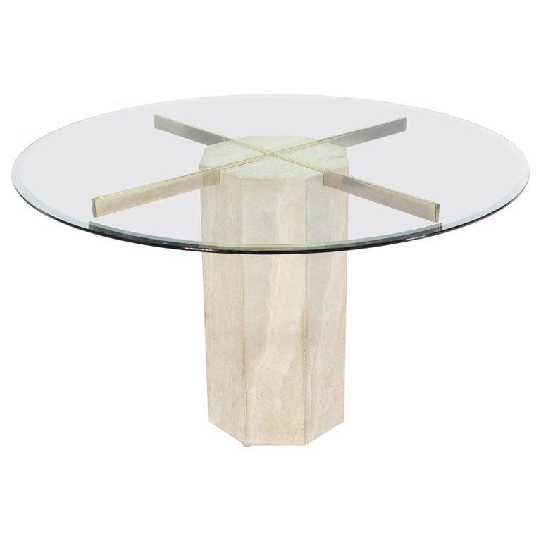 Single Travertine & Brass Pedestal Base Round Glass Top Dining Dinette Table For Sale