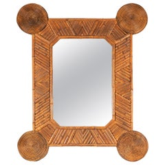 Single unusual Mirror with Intricate Bamboo Surround