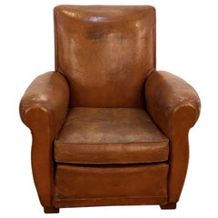 Single Vintage Art Deco French Brown Leather Club Chair