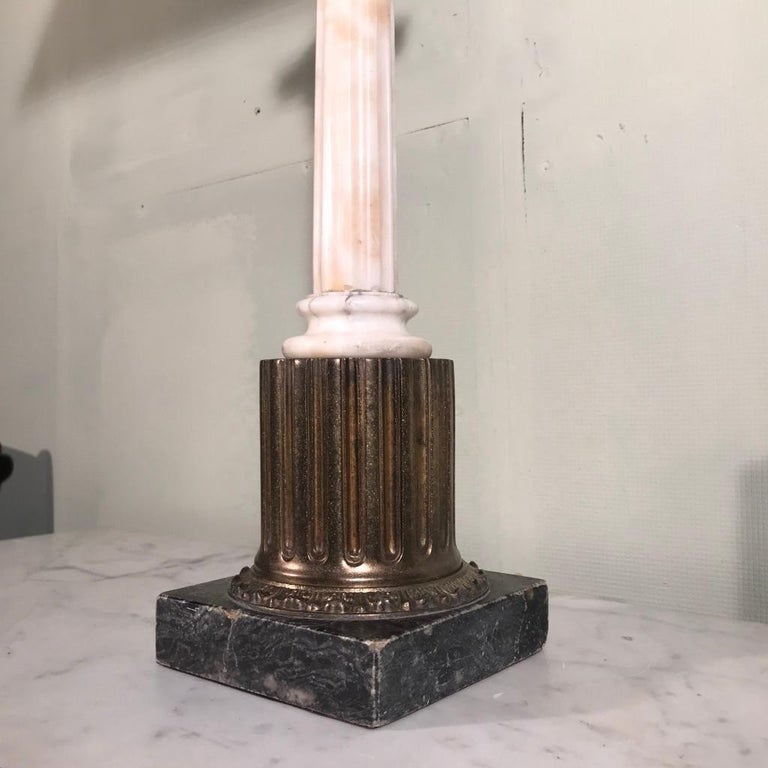 Single Vintage Corinthian Column Lamp in Marble and Brass In Good Condition For Sale In Uppingham, Rutland