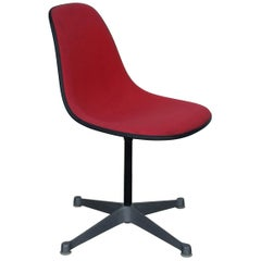Single Vintage Fabric Contractor Base Eames Swiveling Chair