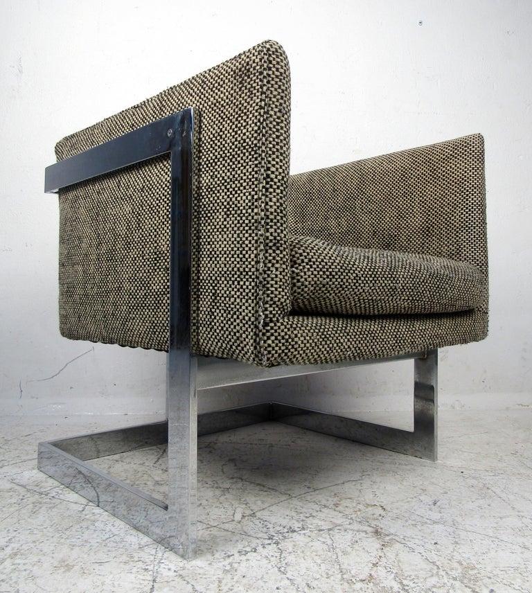 Single Vintage Modern Milo Baughman Chair For Sale 1