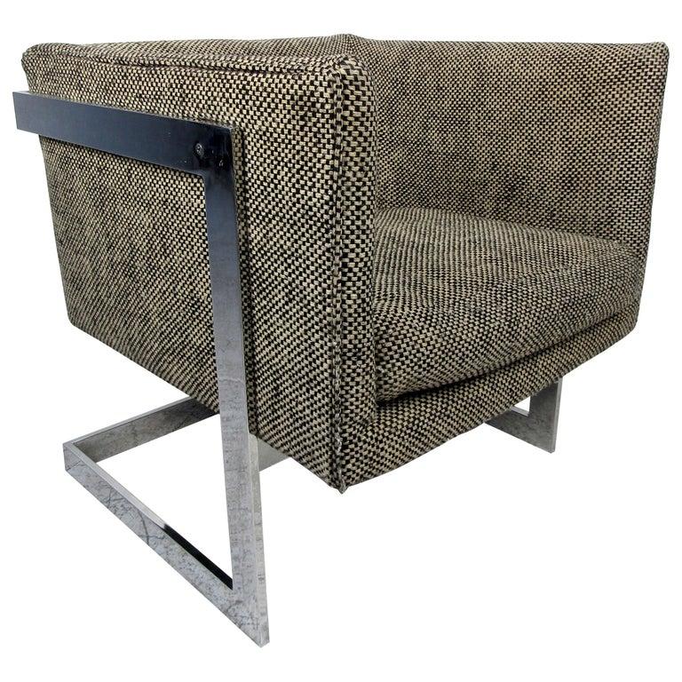 Single Vintage Modern Milo Baughman Chair For Sale