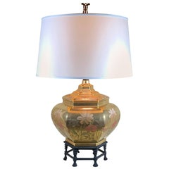 Single Vintage Six Side Porcelain Chinese Table Lamp