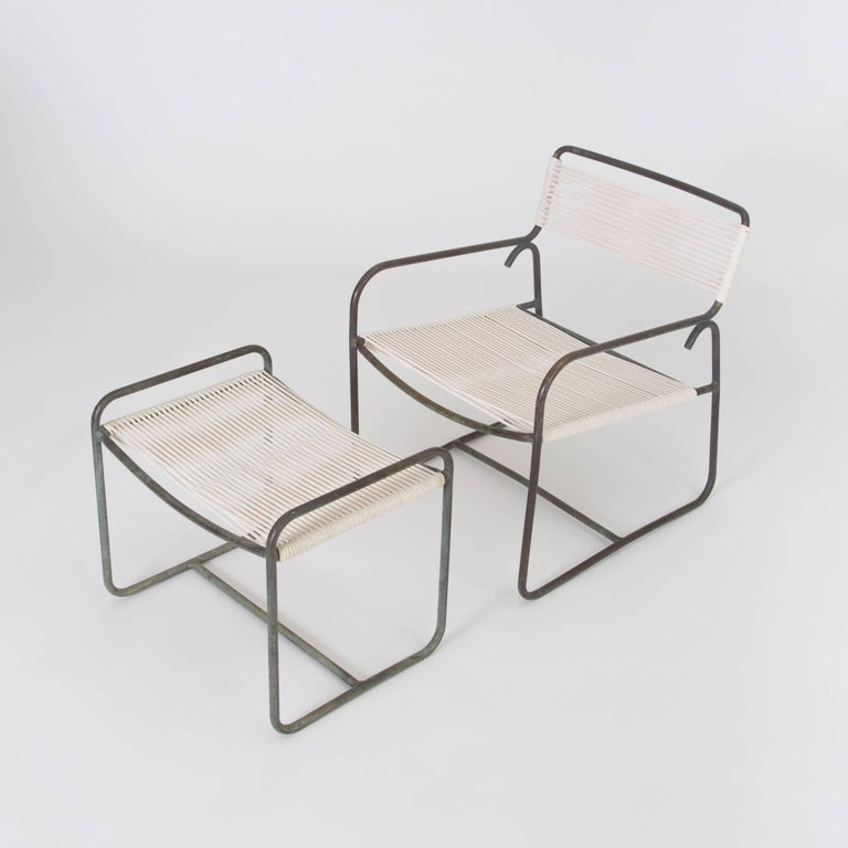 Mid-Century Modern Single Walter Lamb Patio Lounge Chair and Ottoman Set For Sale
