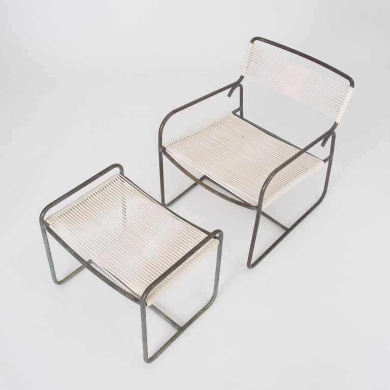 American Single Walter Lamb Patio Lounge Chair and Ottoman Set For Sale