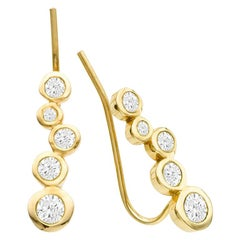 Single Diamond 14 Karat Yellow Gold Earring Climber
