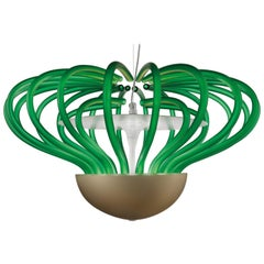 Sintesi Nido Murano Glass Pendant in Satin Grass Green and Kaiser Gray, Salviati