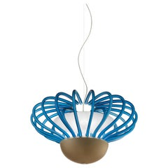 Sintesi Nido Murano Glass Pendant in Satin Savoia Blue and Kaiser Gray, Salviati
