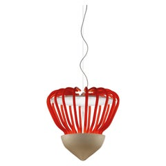 Sintesi Selva Murano Glass Pendant in Satin Orange and Kaiser Gray by Salviati