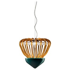 Sintesi Selva Murano Glass Pendant in Transparent Amber and Satin Pavone Green