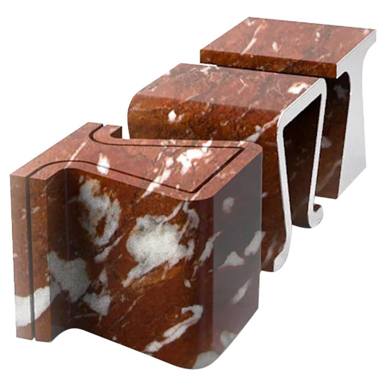 Sinuosa 2 Piece Marble Stool by Marmi Serafini