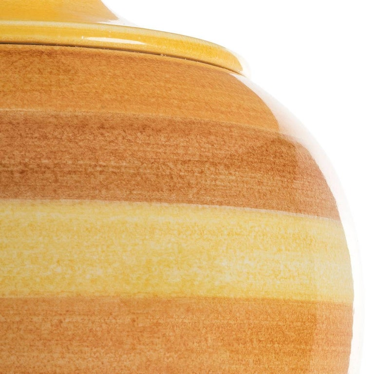 Hand-Painted Contemporary Table Lamps in Ceramic, Sinuous-Colored  For Sale