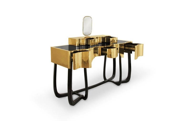 Modern Sinuous Dressing Table with High Gloss Black Lacquered Structure For Sale