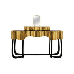 Sinuous Dressing Table with High Gloss Black Lacquered Structure