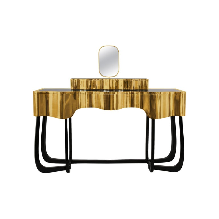 Sinuous Dressing Table with High Gloss Black Lacquered Structure For Sale