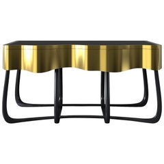 Sinuous Nightstand in Polished Brass & Black Lacquered Wood