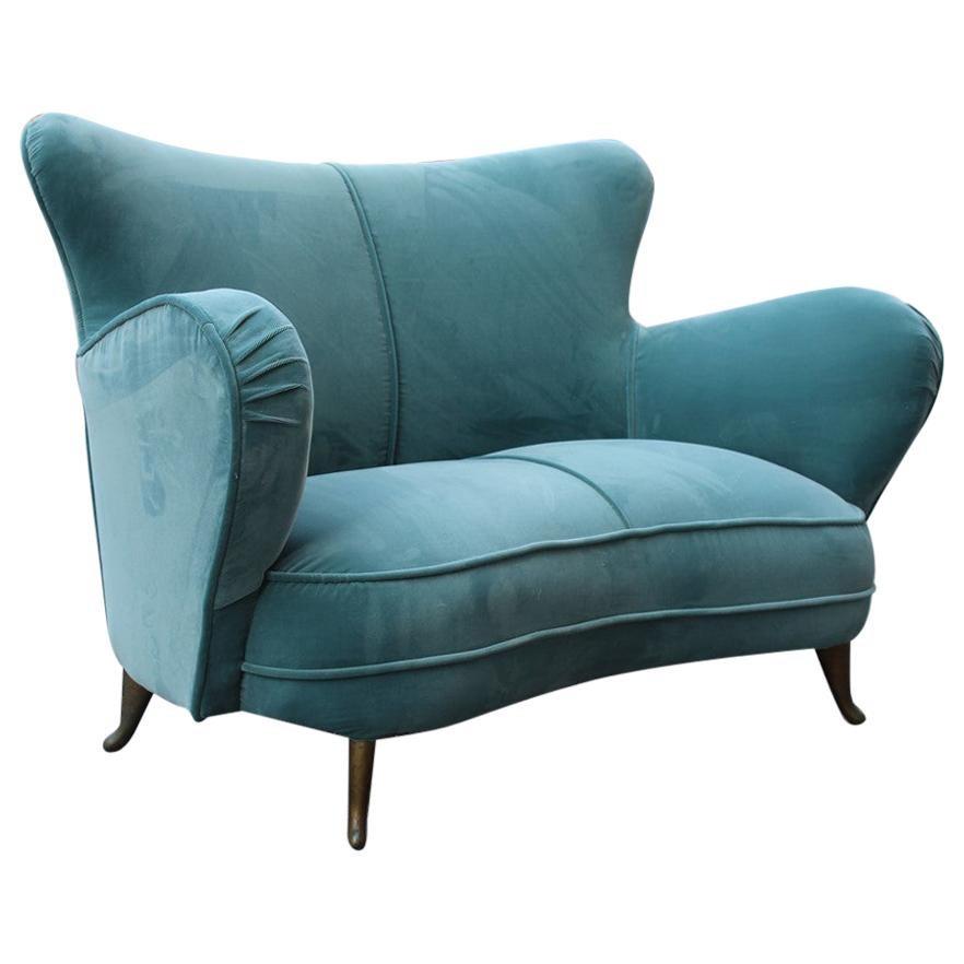 Sinuous Velvet Turquoise Sofa Midcentury Sofa Isa Bergamo italian Design