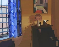 Mango, Interior Painting of Room with Orange Walls, Blue Curtains and Lamp