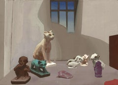Rehearsal, Small Still Life of Cat and Animal Figurines in Interior with Window