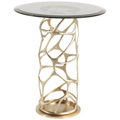 Sioraf Side Table with Metal Base and Bronze Glass Top by Roberto Cavalli