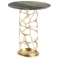 Sioraf Small Side Table with Metal Base and Marble Top by Roberto Cavalli