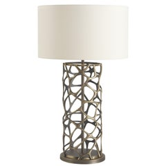 Sioraf.3 Table Lamp in Brass Structure with Ivory Shade by Roberto Cavalli