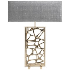 Sioraf.4 Table Lamp in Brass Structure with Silver Shade by Roberto Cavalli