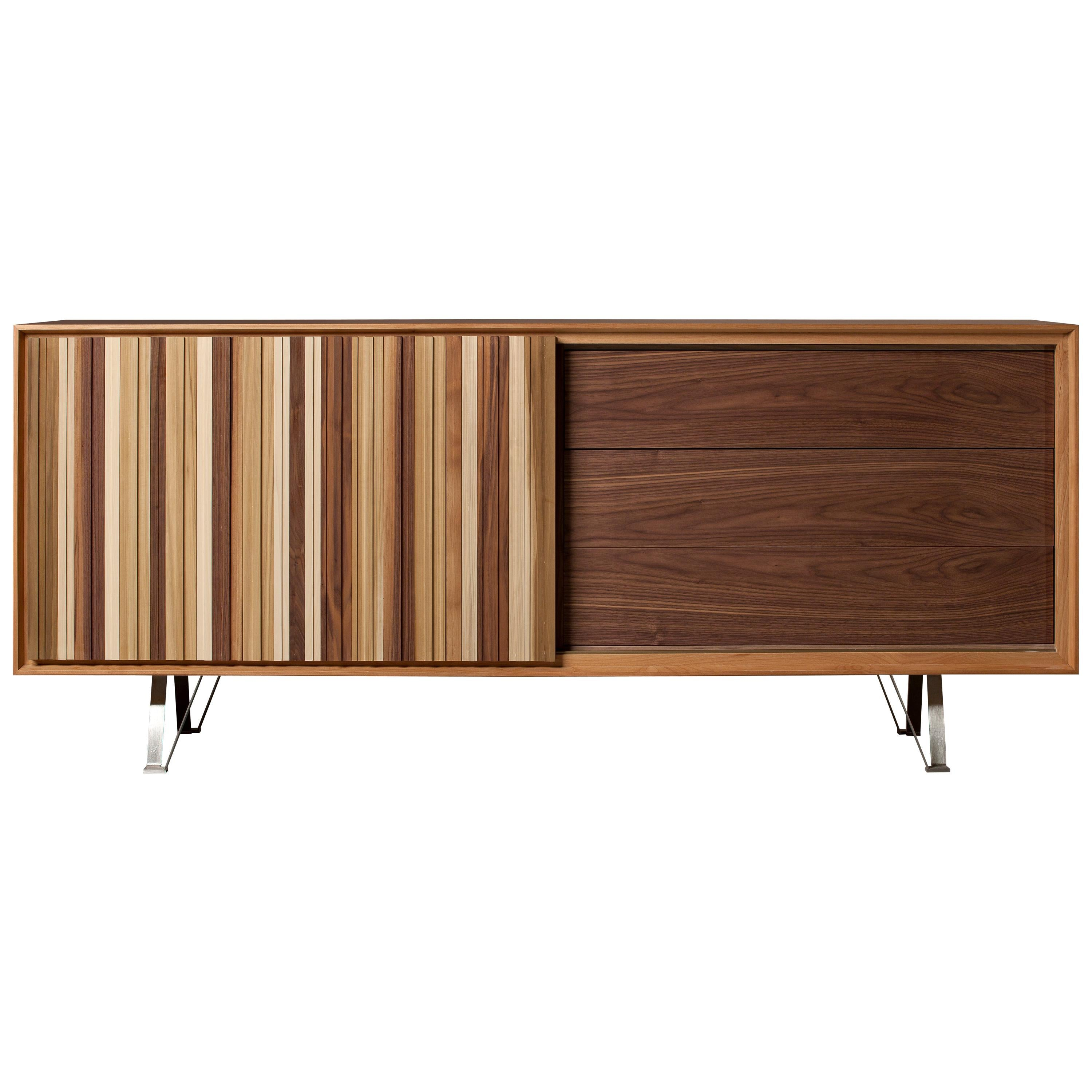 Sipario, Contemporary Sideboard Made Of Cherry Wood With Sliding Door And  Drawer For Sale