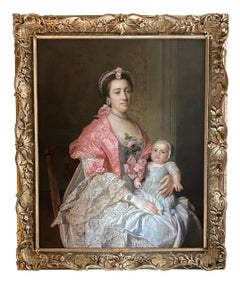 18th Century English Portrait of a Lady and her Child.