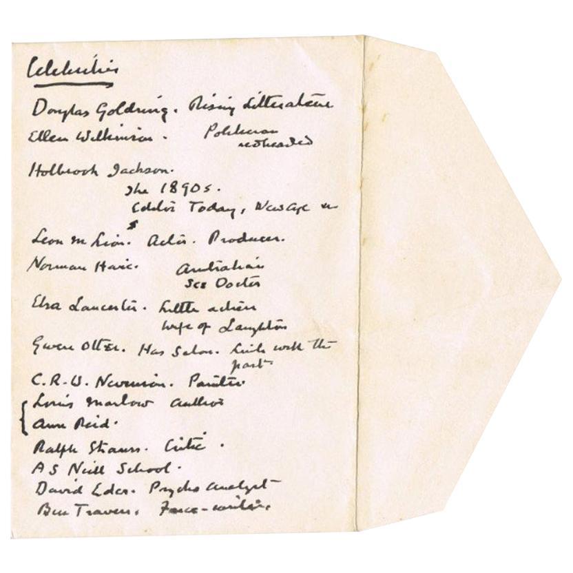 Sir Arthur Conan Doyle 1920s Original Handwritten List on Envelope