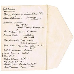 Sir Arthur Conan Doyle genuine handwritten list