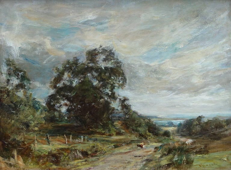 Glimpse of the Sea - Scottish art Impressionist landscape oil painting  - Painting by Sir Charles James Lawton Wingate