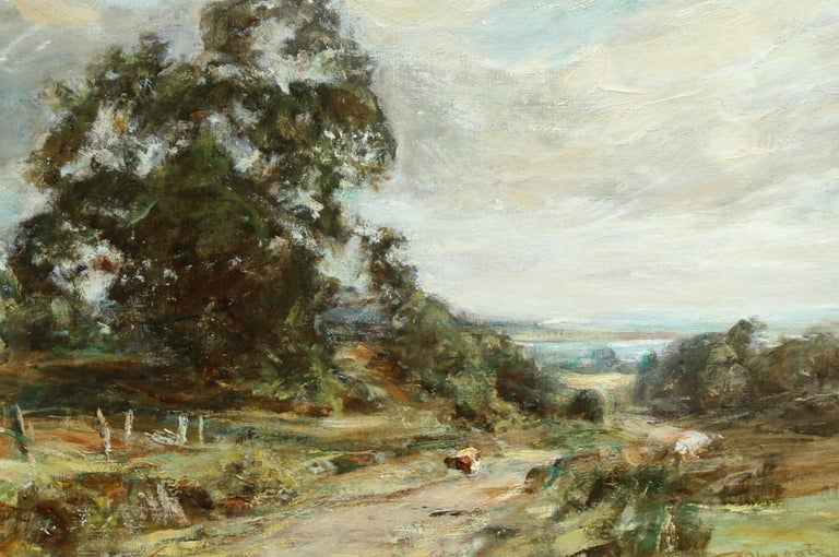 Glimpse of the Sea - Scottish art Impressionist landscape oil painting  - Gray Landscape Painting by Sir Charles James Lawton Wingate