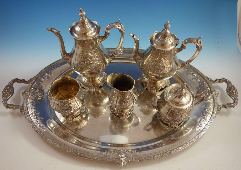 Sir Christopher by Wallace  Fabulous Sir Christopher by Wallace 5-piece sterling silver tea set with sterling silver tray. Hand chased and applied design. The pieces are not monogrammed and all the pieces are marked with #4800-1. The set