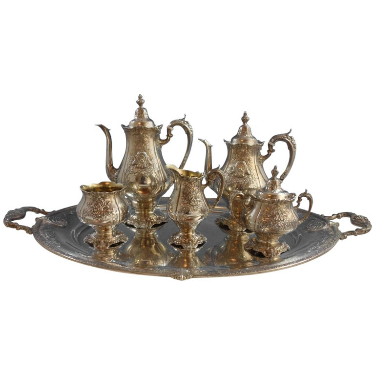 Sir Christopher by Wallace Sterling Silver Tea Set 5pc with Tray (#1942) For Sale