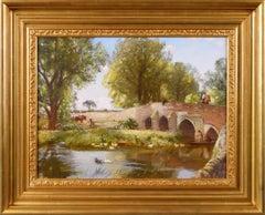 19th Century landscape oil painting of a bridge