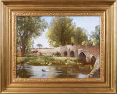19th Century landscape oil painting of a bridge over a river