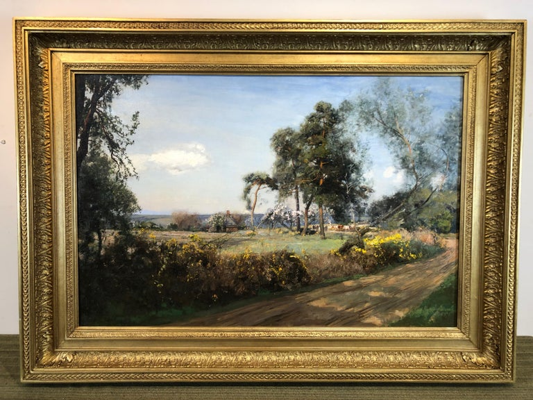 Cattle In The Glade - LRural Landscape Oil On Canvas By Sir David Murray R.A.  - Impressionist Painting by Sir David Murray