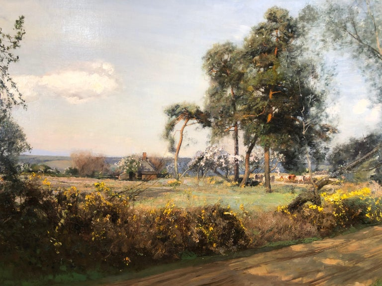 Cattle In The Glade - LRural Landscape Oil On Canvas By Sir David Murray R.A.  - Gray Landscape Painting by Sir David Murray