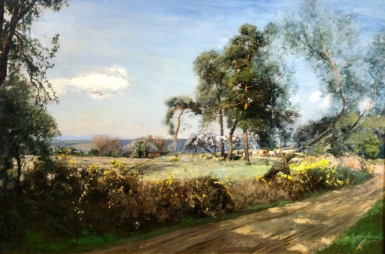 Cattle In The Glade - LRural Landscape Oil On Canvas By Sir David Murray R.A.  - Painting by Sir David Murray