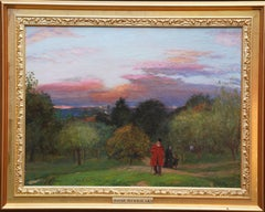 Chelsea Pensioner Hampstead Heath London - Scottish art landscape oil painting