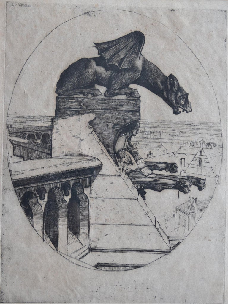 Sir David Young Cameron, R.A. Figurative Print - The Chimera of Amiens 1900