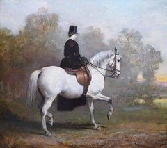 Elegant Lady on a White Horse - 19th Century Equestrian Oil Painting Portrait