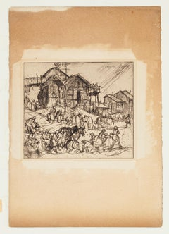 People - Original Etching by F. Brangwyn - Mid 20th Century