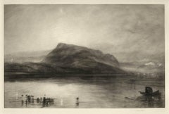 Mount Rigi at Dawn (The Alps in Central Switzerland. Boat and flock of birds)